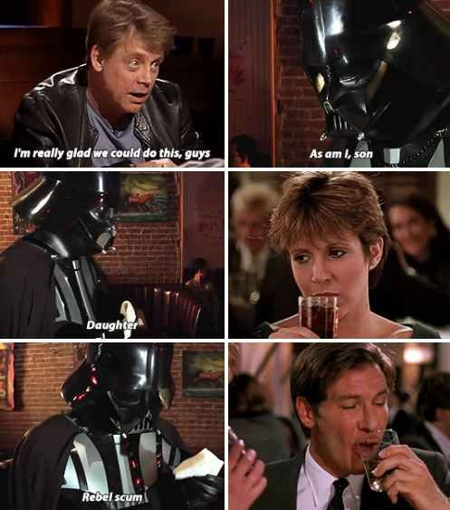 Bonus! Mamalaz did one imagining what would have happened if Darth Vader never died and went out to dinner with his kids.