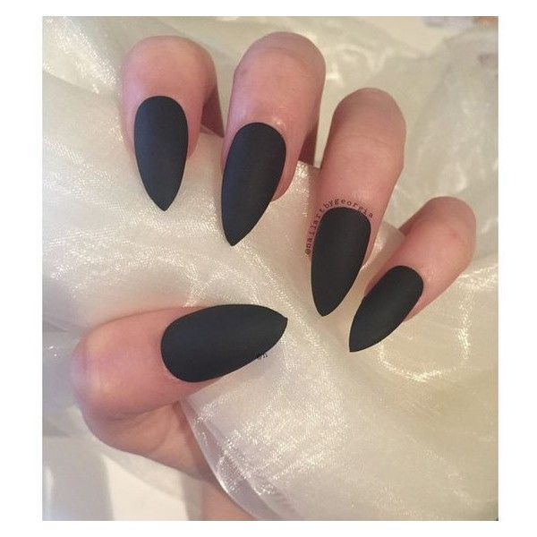 Beautiful matte black stiletto nails ❤ liked on Polyvore featuring beauty products, nail care and nail treatments