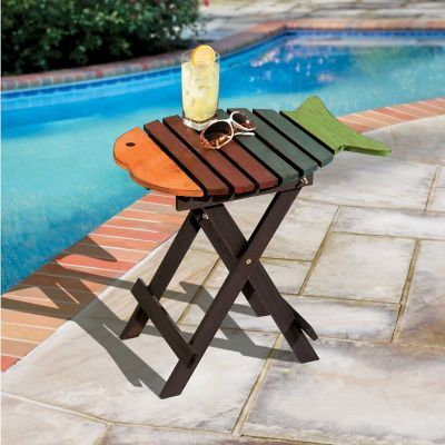 Our Folding Fish Accent Table Is A See Worthy Addition Outdoors Or Indoors.  This Wooden Fish Table Makes A Fun Accent Table Anywhere.