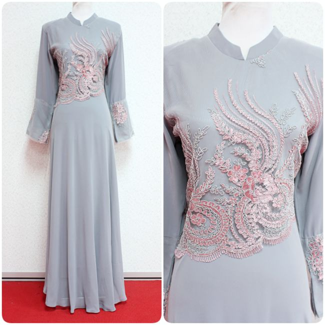 This beautiful chiffon Jubah Azalea is flowy, elegant and feminine - available in grey, dusty pink and mint green.