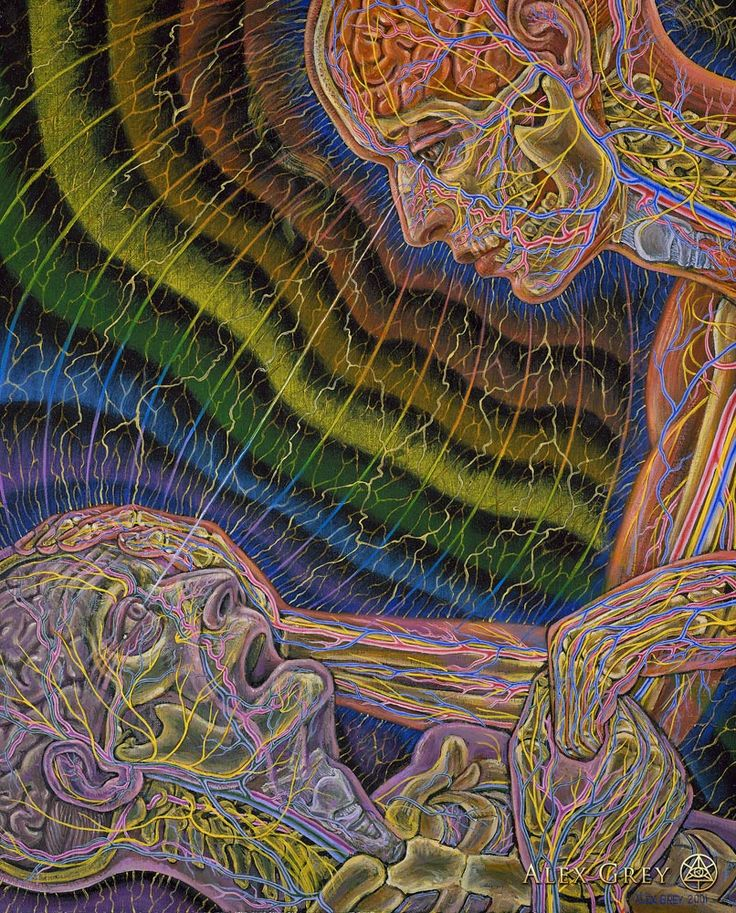 Caring - 2001, oil on linen, 24 x 30 in. Alex Grey
