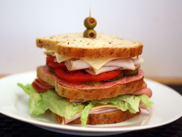 The Dagwood Sandwich.  For those too young to appreciate the name, it is so called, because Dagwood Bumstead (a cartoon character made famous by Chic Young) used to create these culinary monsters.  This is a tiny one . . .