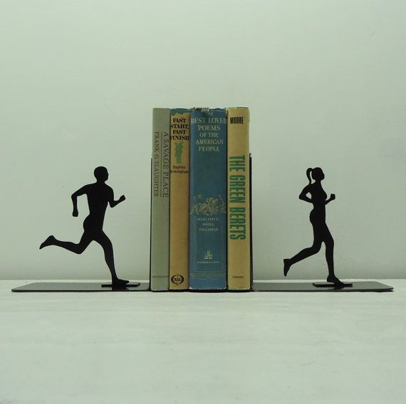 Running Couple Metal Art Bookends  Free USA by KnobCreekMetalArts, $46.99