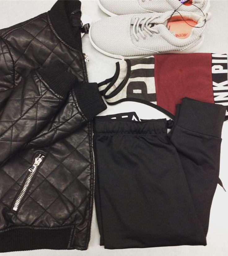 Don't pick sporty over edgy, be them both by mixing trends 😎 Pleather jacket {F21, M, $16}, VS Pink sports bra {M, $16}, Athletic shoes {10, $12}, Pants {M, $16} ☎️ Call the store at (519) 744-4404 for any questions/holds #upcycle #iloveplatoskw #athleisure #fallfashion | www.platosclosetkitchener.com