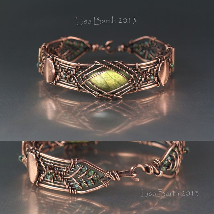 Copper and labradorite woven-wire bracelet by Lisa Barth