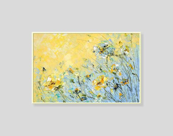 Abstract Flower Painting Floral Impasto Textured Russian