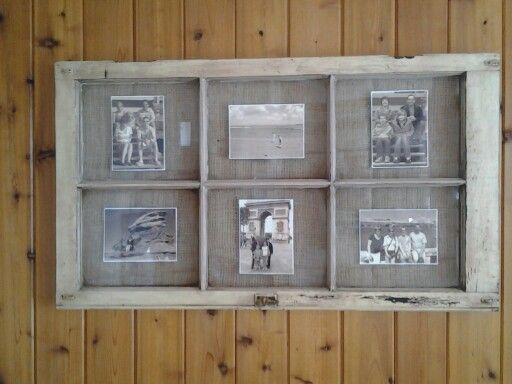 Old window pane frame with burlap backing.