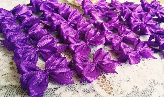 Handmade satin bows purple applique bows white by Rocreanique