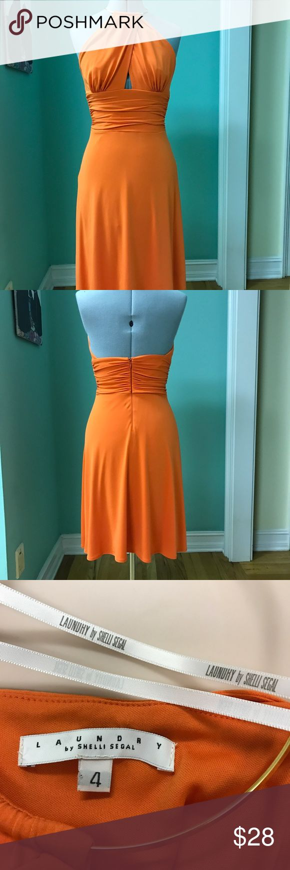Laundry by Shelli Segal dress Beautiful electric orange dress by Shelli Segal. Halter top is anchored at the neck  by a gold neckpiece. Comfortable stretchy fabric. Laundry by Shelli Segal Dresses