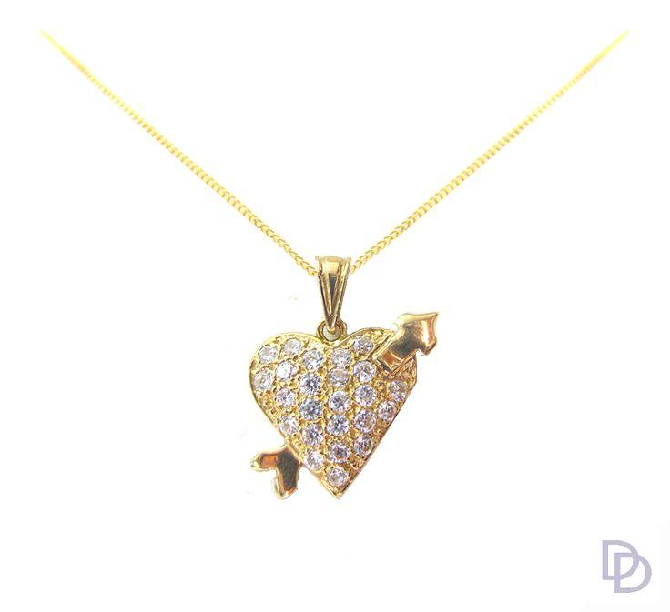 9ct yellow gold cubic zirconia set heart pendant