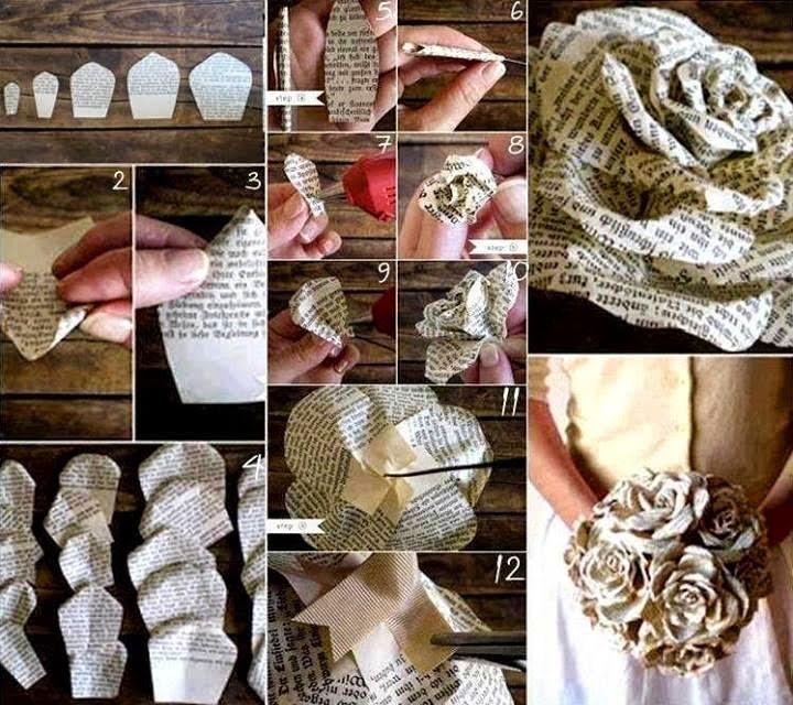 ramos de novia con papel periodico4