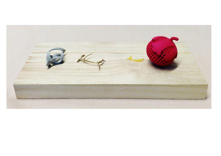 ★Extra info Rose van Ginneken©2014:   'De opdracht was het ontwerpen van objecten in het 3D programma Rhinoceros. Vervolgens deze laten printen in verschillende materialen. De krul is in alumide geprint, gewei in brons en in was, en het besje in kunststof'.