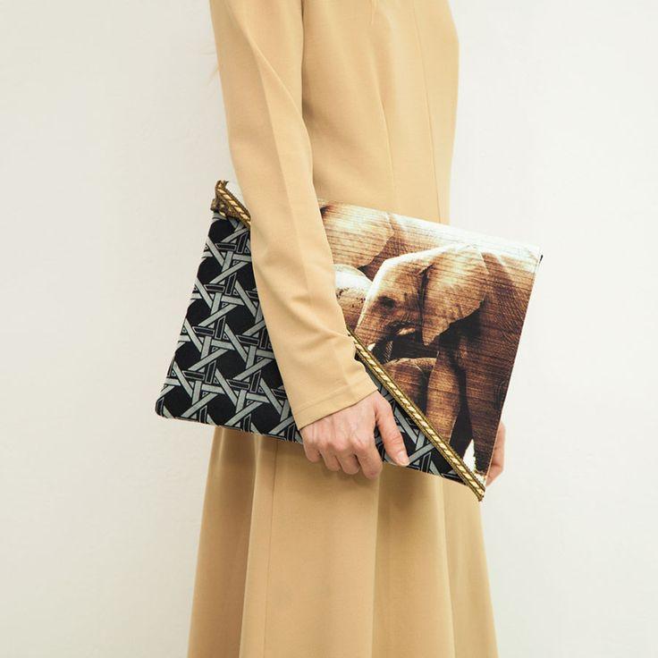 Savanna Oversized Clutch by EfiDolcini. #savanna #clutch #bag #elephants #vintagefabric #eshop #boutique