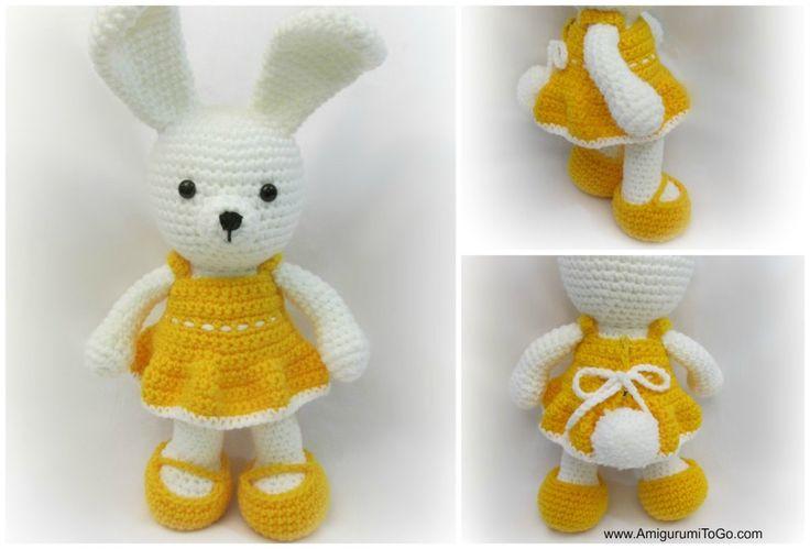 Cheerful Spring Easter Bunny. Free Amigurumi Pattern ༺✿ƬⱤღ http://www.pinterest.com/teretegui/✿༻