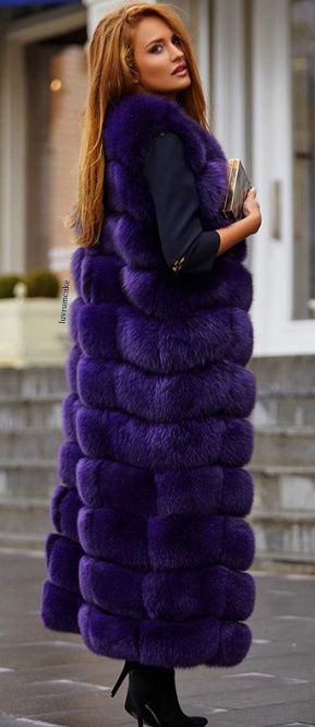 Maxi Fox Fur Vest and Long Hair