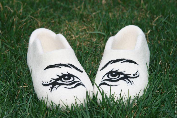 """Купить Детские тапочки """"Глаза"""" - белый, однотонный, тапочки, детская обувь, детские тапочки"""