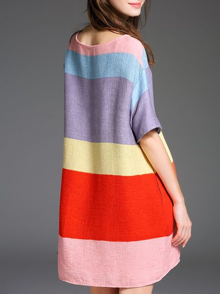 Pink red color block retro dress