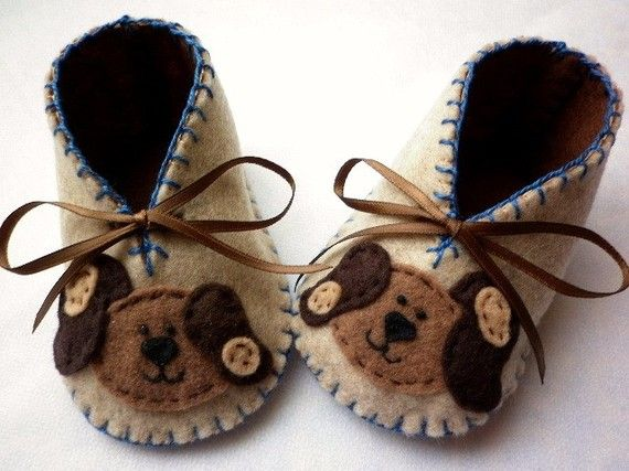 Baby boy booties with cute doggies Soft by FiestaKidsBoutique, $23.50