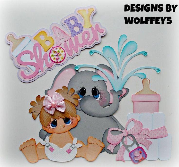 ELITE4U GIRL BABY SHOWER  paper piecing premade scrapbook page album  WOLFFEY5
