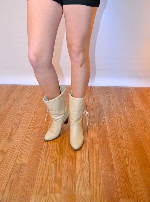 1980s size Us 7 Uk 5 Eu 37 cream ankle boots // USA MADE DINGO cowboy boots // fauxyfurr vintage