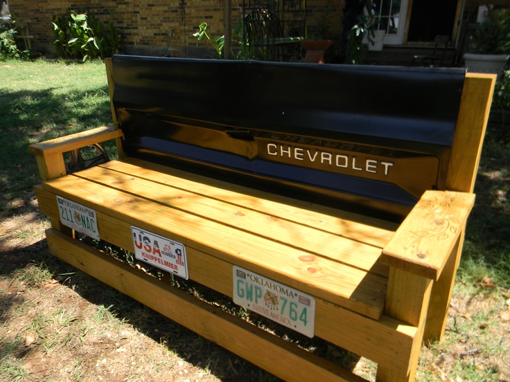 My husband and I made this tailgate bench for my son's house warming gift.  The tail gate is from a 61, 62 Chevy pickup.