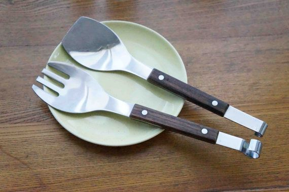 Fantastic Salad Spoons With Wood Handles    Groovy Serving Spoons Made In  Japan