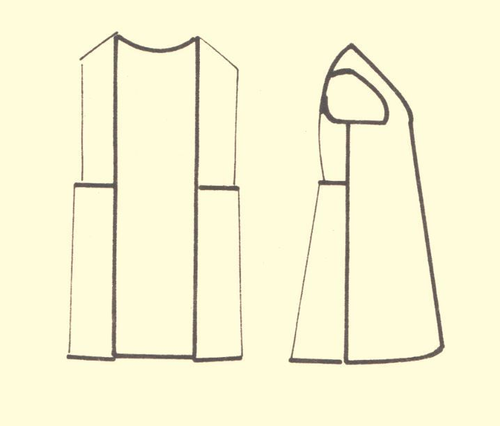 """Pattern of an overcoat (""""sigouni"""") for the Eleusis, Mainland Greece, women's costume. Peloponnesian Folklore Foundation Collection, Nafplion."""