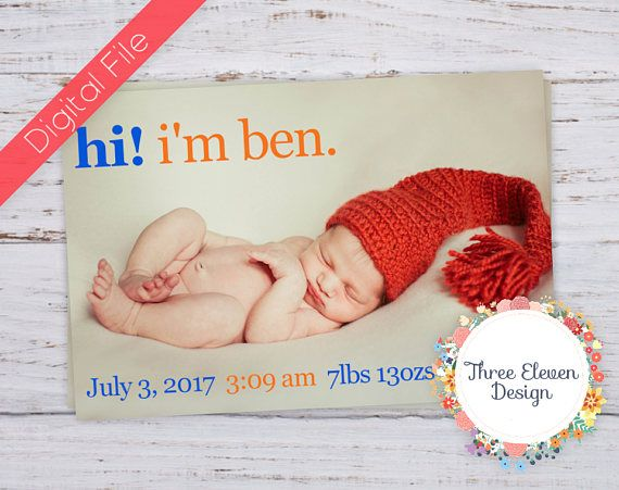 Hi Printable Birth Announcement