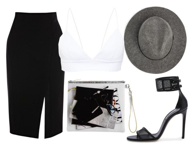 """""""B&W"""" by channabell ❤ liked on Polyvore featuring MANGO, Casadei and Charlotte Olympia"""