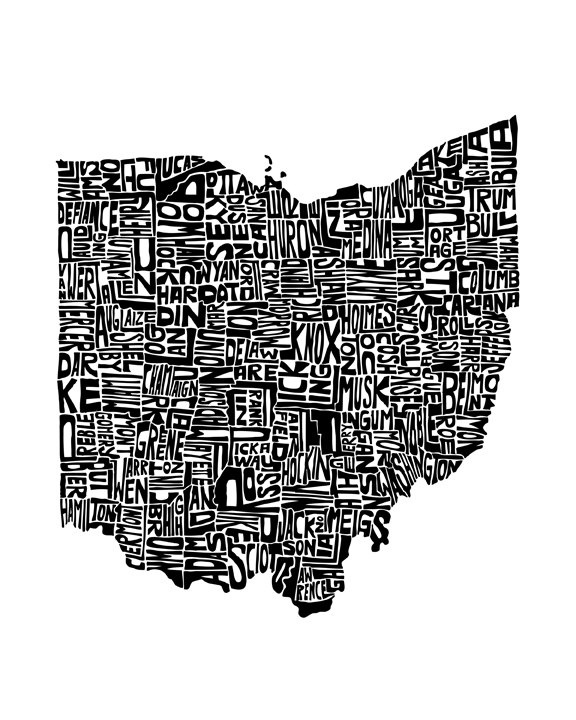 Ohio - typography map art print 8x10 - customizable state poster wall decor. $25.00, via Etsy.