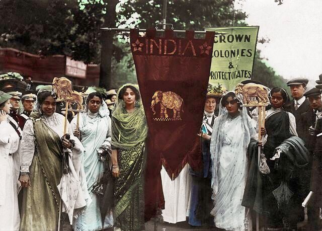 Princess Sophia Duleep Singh (centre, in green) at the Women's Coronation Procession in London, 1911. She was the daughter of Maharaja Duleep Singh, the last leader of the Sikh Empire, and Bamba Müller. Born in the lap of luxury and having Queen Victoria as her own god mother, the princess- a feminist, became a rebel suffragette, who marched alongside Emmeline Pankhurst and dedicated her life to ensure women would have the right to vote.
