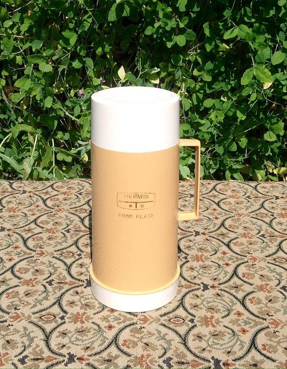 1970 S Thermos Food Flask Beige White Vacuum Flask Thermos Food Flask Flask Freezing Cold