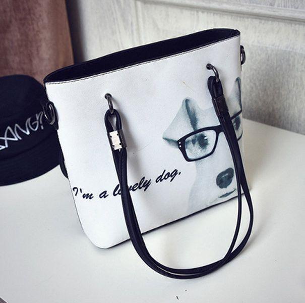 Women PU Dog Pattern Handbag Cartoon Cute Crossbody Bag