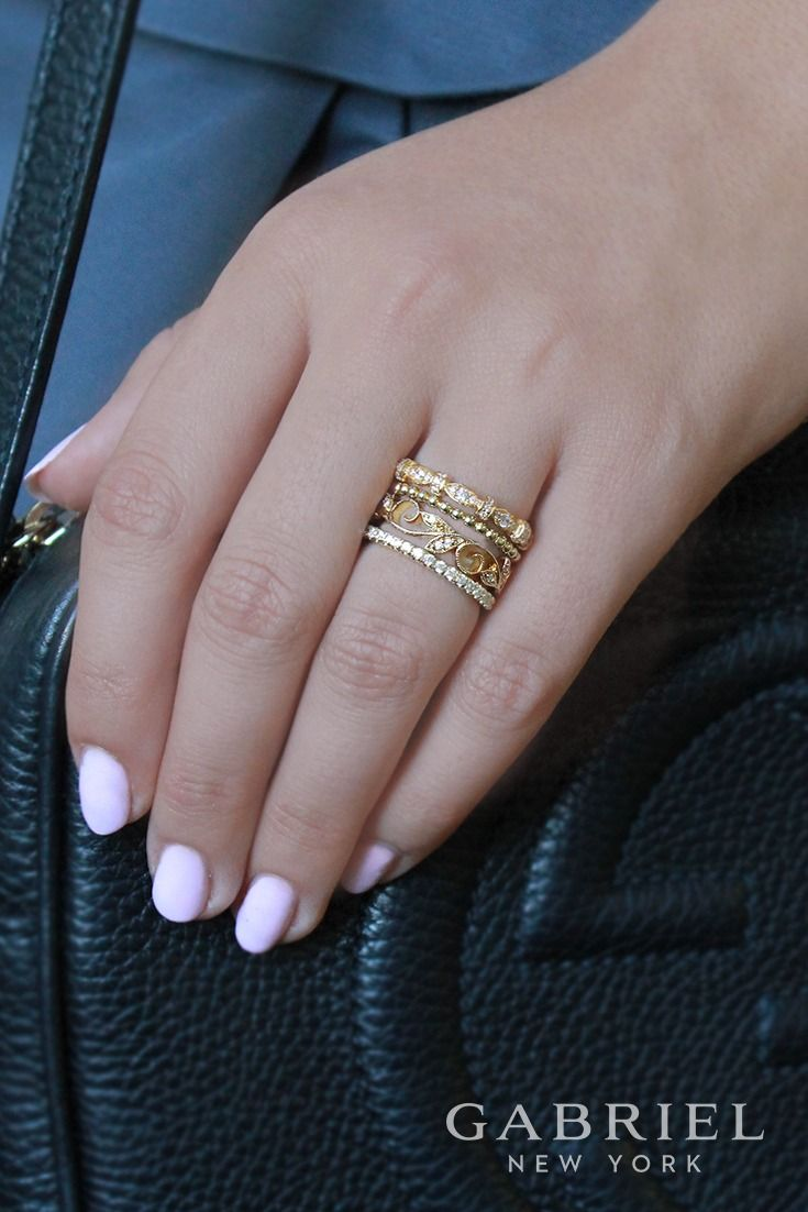 14k Yellow Gold Stackable Ladies Diamond Ring