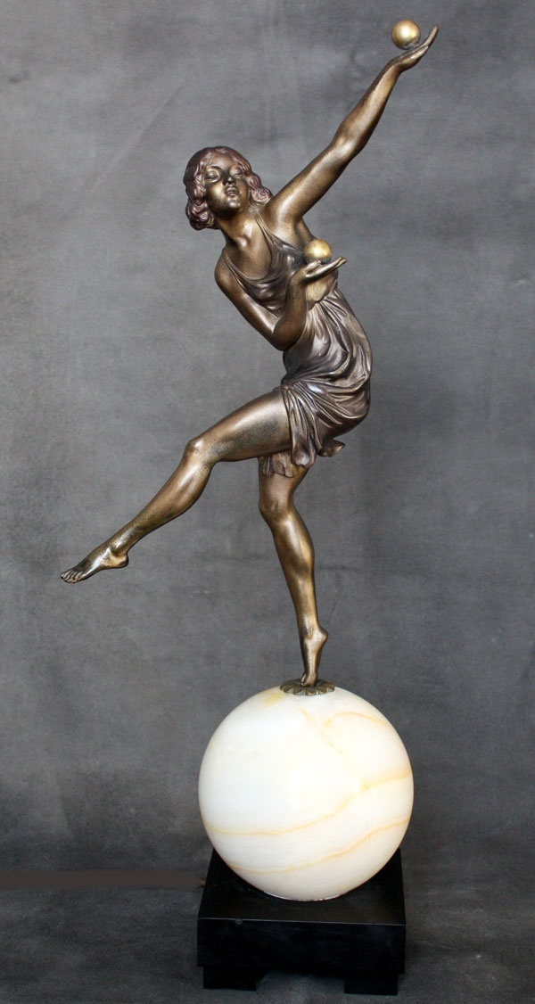"An Art Deco bronze figure lamp by Marcel-Andre Bouraine, ""Jongleuse"", circa 1924, edited by Arthur Goldscheider - Paris."