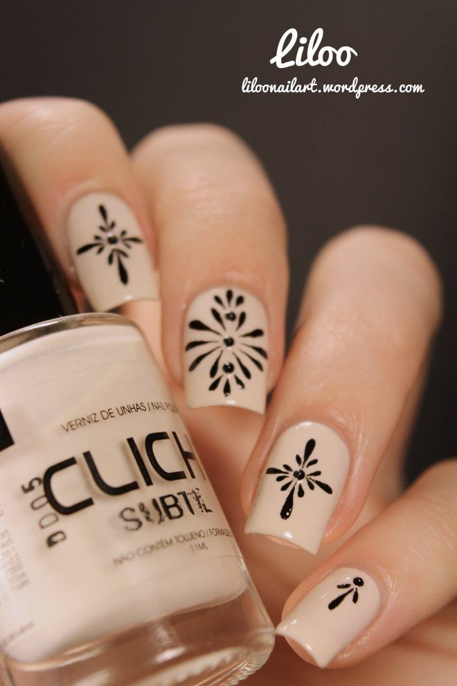 nude and black nail art  My Style  Pinterest