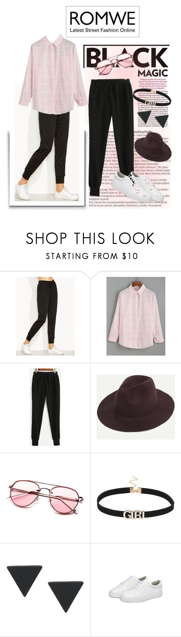 """""""Romwe! - Win Black Drawstring Waist Pants!!!"""" by teez-biz-nez ❤ liked on Polyvore featuring SCARLETT and WithChic"""