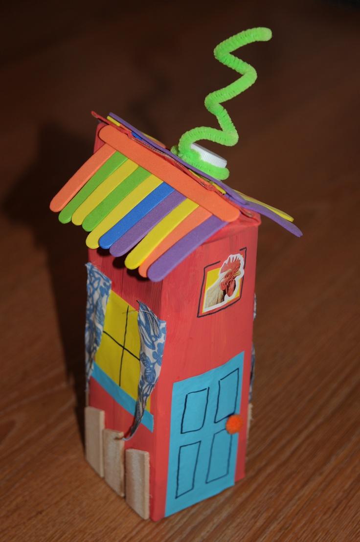 Kids juice carton farm house