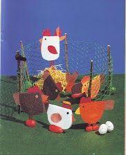 Kippenren met kippen, kleuterknutsel stap voor stap