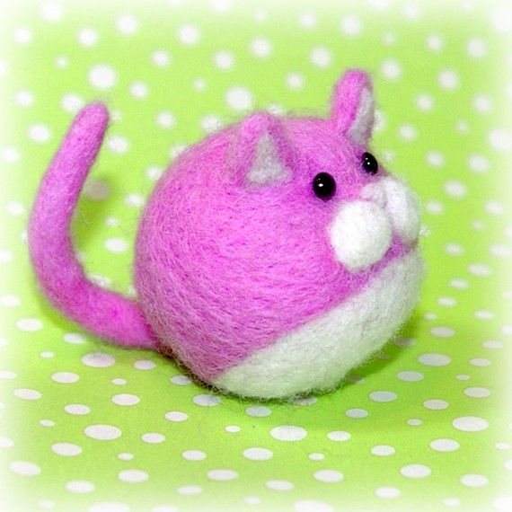 Needle Felted Pink and White Wool Fat Ball Cat by totallytimmy, $15.00