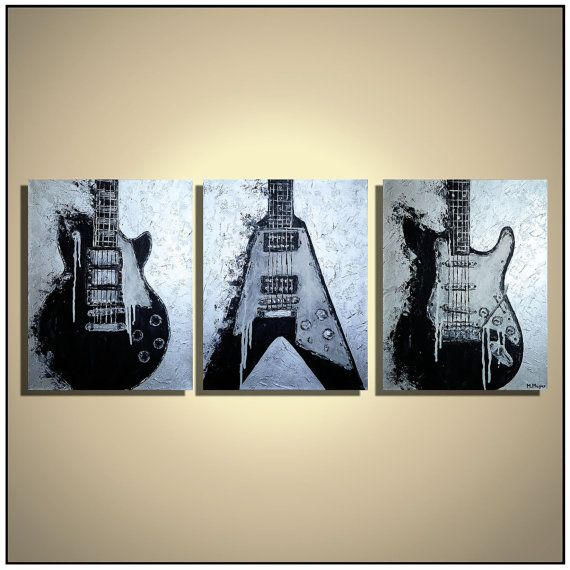 Guitar Painting, Music Art, Guitar Wall Art, Gift For Music Lover, Music Art,  Les Paul, Original Guitar Painting On Canvas MADE TO ORDER