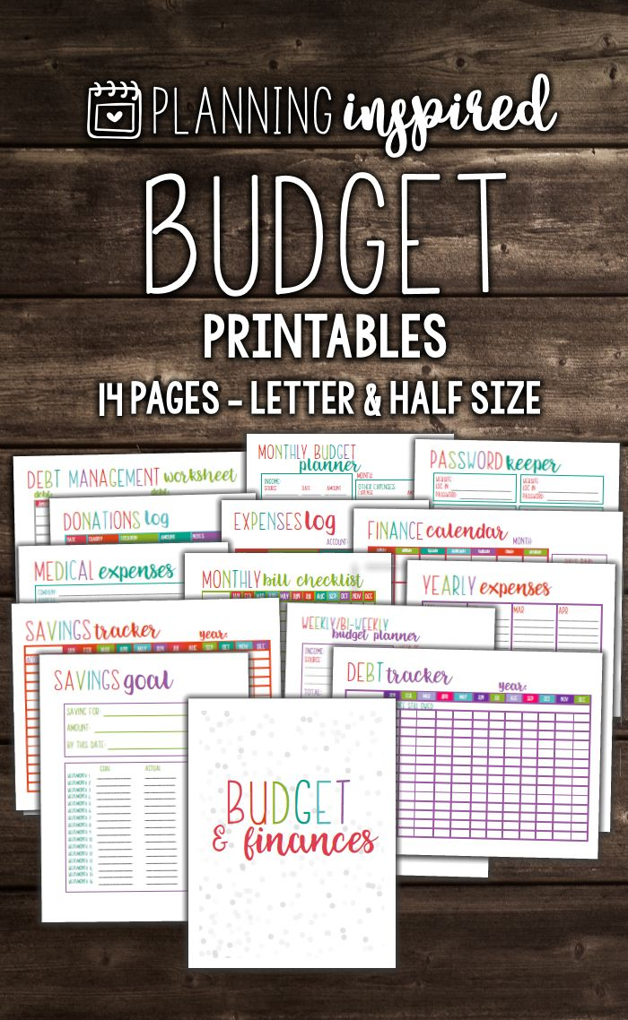 Planning Inspired Budget Printables! Includes 14 pages in TWO different sizes. These budget worksheets are going to get your finances organized once and for all.
