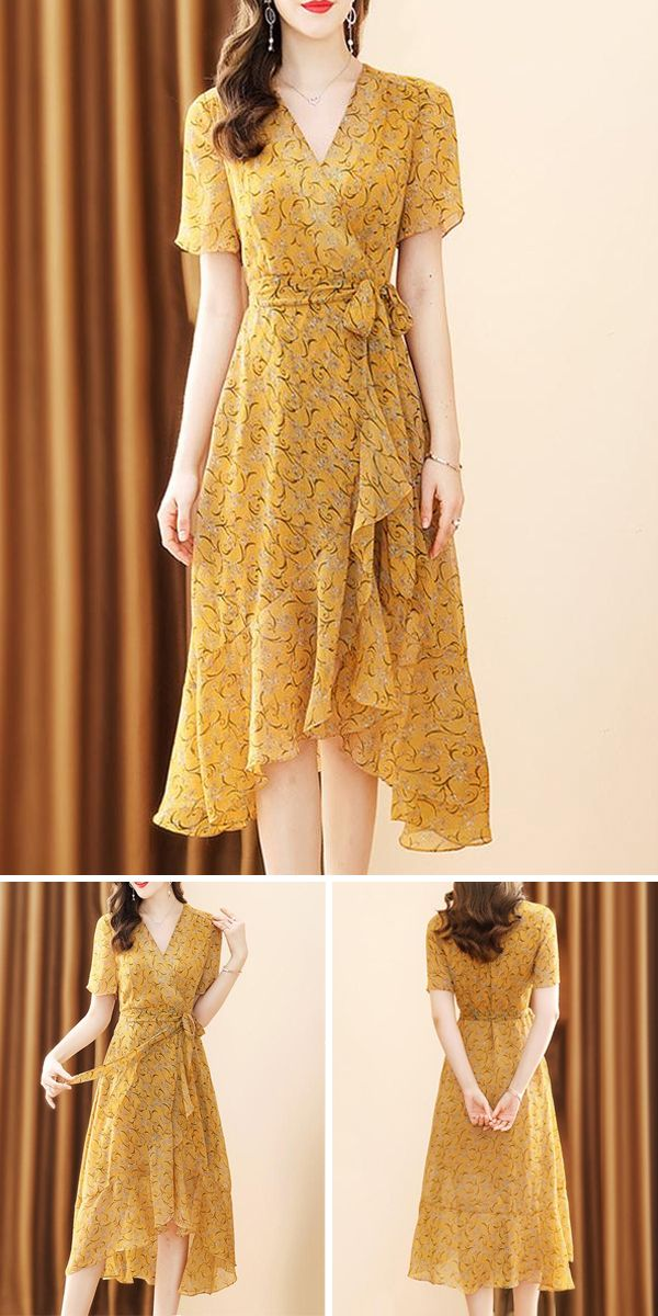Chiffon V-Neck Sashes Irregular Peplum Floral Pattern Skater Dress