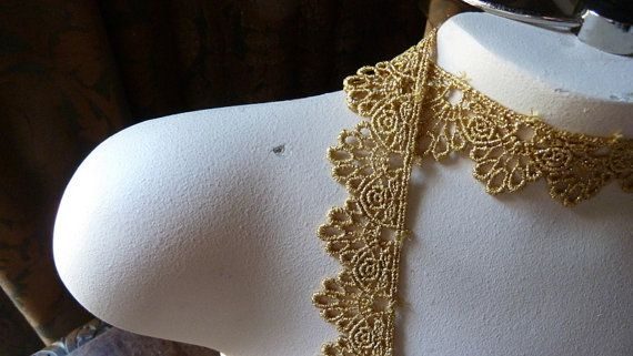 For making crowns and trimming wedding cakes! This one is Venise lace in a lovely gold .. Measures 1.25 in width... Listing is for one