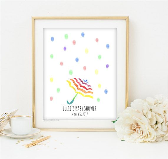 Baby Shower Guest Book, Umbrella Thumbprint Guestbook, Rainbow Umbrella Guest  Book, Bridal Shower