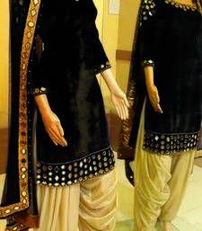 Buy Black plain Velvet semi stitched salwar with dupatta patiala-salwar online