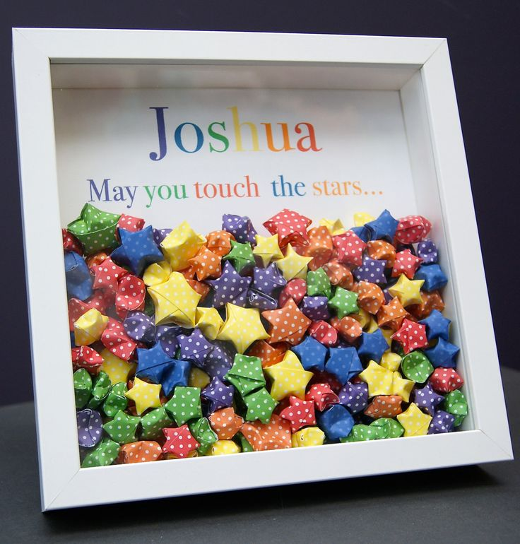 Personalized Name Paper Origami Lucky Stars Shadowbox Frame Custom Newborn Baby Shower Gift by paintandpapercraft on Etsy