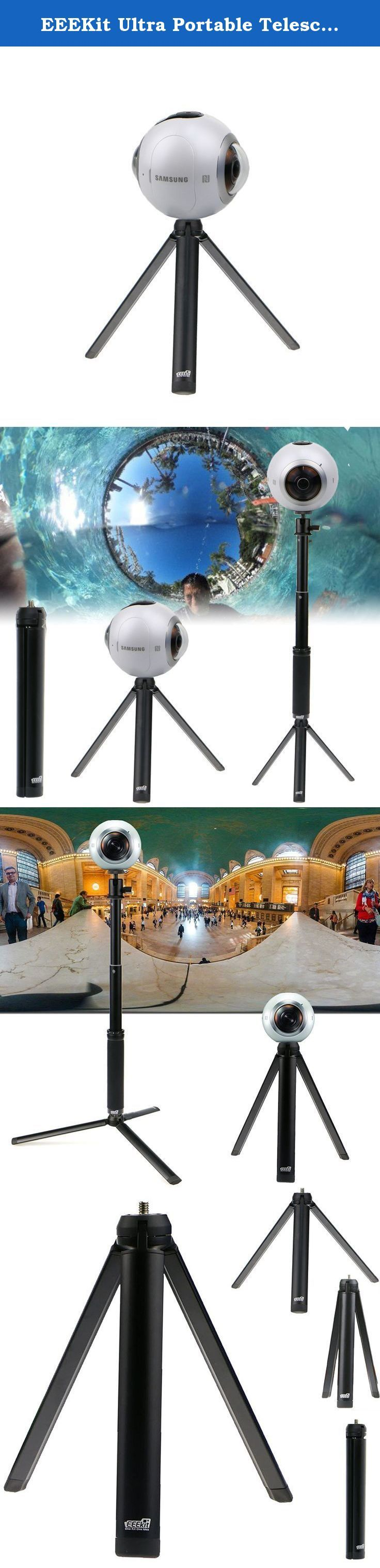 EEEKit Ultra Portable Telescopic Mini Table Top Tripod Stand Grip Stabilizer for Samsung Gear 360 Camera. Kit Includes: 1 x Mini Tripod Stand Specifics: Length: 3.15 inch (8 cm) Folded Legs made of aluminum with rubber feet. Ideal for setting up stationary shots on flat surfaces. Can be attached to Monopod for higher elevation and wider shots. .