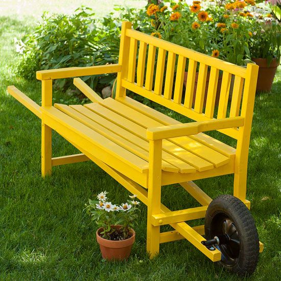 In the current issue of Country Gardens Magazine Jan 2013.  What a great idea, easy moving for mowing, additional seating where needed, and putting in/out of storage.  We are going to try this idea on an older bench by the lobby, thinking of painting it a bright coral color?