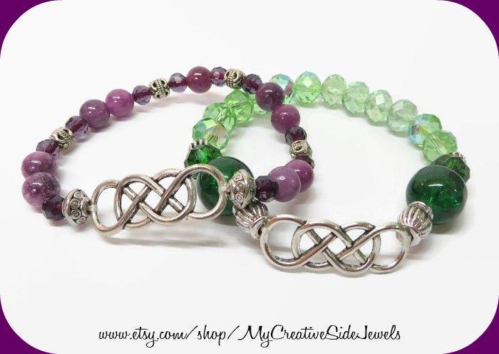 Irish knot bracelets.  Celtic knot bracelets.  Green Celtic knot bracelet.  Purple Celtic Knot bracelet.  Handmade on Etsy: https://www.etsy.com/shop/MyCreativeSideJewels